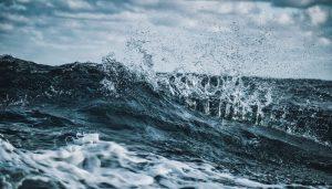 A closeup of an ocean wave
