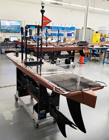 A wave glider sitting in a test centre